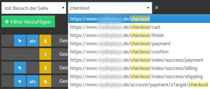 URL-Filter Suche mit Dropdown